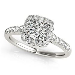 1.45 CTW Certified VS/SI Cushion Diamond Solitaire Halo Ring 18K White Gold - REF-452K7W - 27126