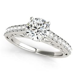 1.65 CTW Certified VS/SI Diamond Solitaire Ring 18K White Gold - REF-498A2V - 27651