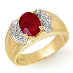 2.75 CTW Ruby & Diamond Men's Ring 10K Yellow Gold - REF-61W8H - 13478