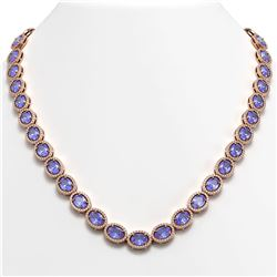 48.65 CTW Tanzanite & Diamond Necklace Rose Gold 10K Rose Gold - REF-797V3Y - 40563