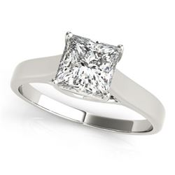 0.75 CTW Certified VS/SI Princess Diamond Ring 18K White Gold - REF-207R8K - 28143