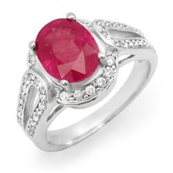 4.50 CTW Ruby & Diamond Ring 14K White Gold - REF-85N5A - 14541
