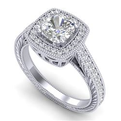 1.77 CTW Cushion VS/SI Diamond Solitaire Art Deco Ring 18K White Gold - REF-459F3N - 37031