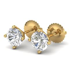 1.50 CTW VS/SI Diamond Solitaire Art Deco Stud Earrings 18K Yellow Gold - REF-309H3M - 37303