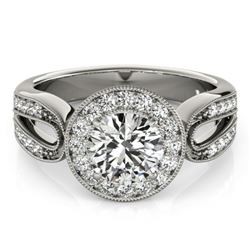 1.40 CTW Certified VS/SI Diamond Solitaire Halo Ring 18K White Gold - REF-418R2K - 27078