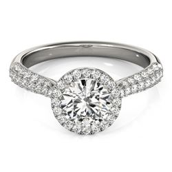 1.40 CTW Certified VS/SI Diamond Solitaire Halo Ring 18K White Gold - REF-380X2R - 26185