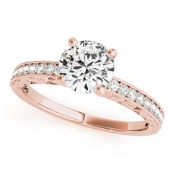 0.50 CTW Certified VS/SI Diamond Solitaire Micro Pave Ring 18K Rose Gold - REF-72W4H - 27241