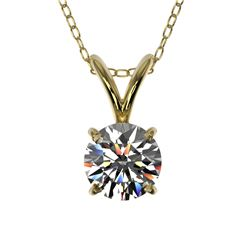 0.50 CTW Certified H-SI/I Quality Diamond Solitaire Necklace 10K Yellow Gold - REF-51A2V - 33155