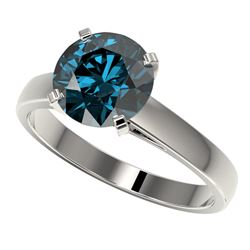 2.50 CTW Certified Intense Blue SI Diamond Solitaire Engagement Ring 10K White Gold - REF-502F3N - 3