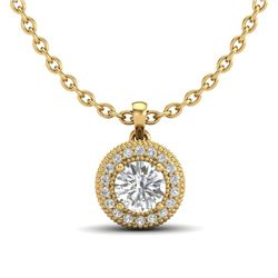 1 CTW VS/SI Diamond Solitaire Art Deco Stud Necklace 18K Yellow Gold - REF-180A2V - 36967