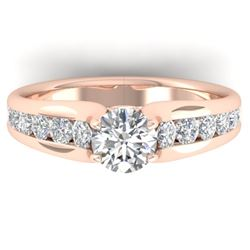 1.37 CTW Certified VS/SI Diamond Solitaire Ring 14K Rose Gold - REF-203V3Y - 30415