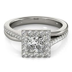 1.50 CTW Certified VS/SI Princess Diamond Solitaire Halo Ring 18K White Gold - REF-399A3V - 27201