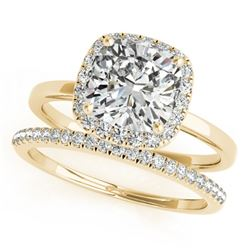 0.80 CTW Certified VS/SI Cushion Diamond 2Pc Set Solitaire Halo 14K Yellow Gold - REF-143F5N - 31408
