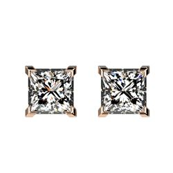 1 CTW Certified VS/SI Quality Princess Diamond Stud Earrings 10K Rose Gold - REF-147M2F - 33064