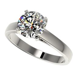 2 CTW Certified H-SI/I Quality Diamond Solitaire Engagement Ring 10K White Gold - REF-466X3R - 33029