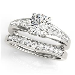 1.50 CTW Certified VS/SI Diamond Solitaire 2Pc Wedding Set 14K White Gold - REF-225K3W - 31718