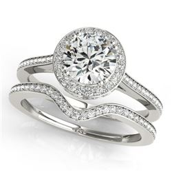 1.80 CTW Certified VS/SI Diamond 2Pc Wedding Set Solitaire Halo 14K White Gold - REF-422M2F - 30813