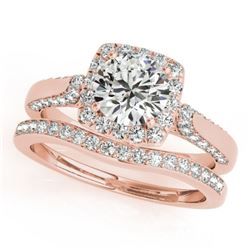 1.64 CTW Certified VS/SI Diamond 2Pc Wedding Set Solitaire Halo 14K Rose Gold - REF-228H7M - 30709