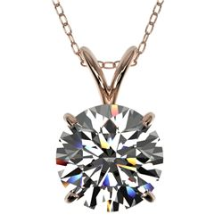 2 CTW Certified H-SI/I Quality Diamond Solitaire Necklace 10K Rose Gold - REF-585F2N - 33231