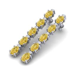 10.36 CTW Citrine & VS/SI Certified Diamond Tennis Earrings 10K White Gold - REF-54N9A - 29391