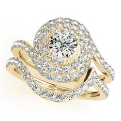 1.67 CTW Certified VS/SI Diamond 2Pc Wedding Set Solitaire Halo 14K Yellow Gold - REF-169V3Y - 31297