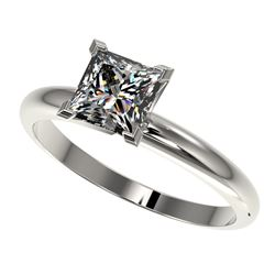 1.25 CTW Certified VS/SI Quality Princess Diamond Solitaire Ring 10K White Gold - REF-372M3F - 32916