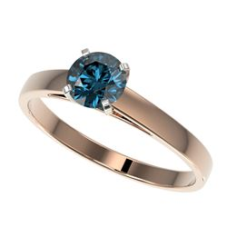 0.75 CTW Certified Intense Blue SI Diamond Solitaire Engagement Ring 10K Rose Gold - REF-70Y5X - 329