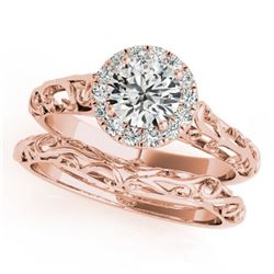 0.62 CTW Certified VS/SI Diamond Solitaire 2Pc Wedding Set Antique 14K Rose Gold - REF-110Y9X - 3148