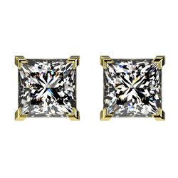 2 CTW Certified VS/SI Quality Princess Diamond Stud Earrings 10K Yellow Gold - REF-585F2N - 33096