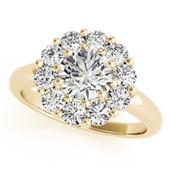 1.38 CTW Certified VS/SI Diamond Solitaire Halo Ring 18K Yellow Gold - REF-226H2M - 27014