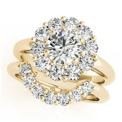 1.81 CTW Certified VS/SI Diamond 2Pc Wedding Set Solitaire Halo 14K Yellow Gold - REF-241A6V - 31273