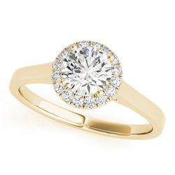 0.58 CTW Certified VS/SI Diamond Solitaire Halo Ring 18K Yellow Gold - REF-126F5N - 26589