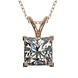 1.25 CTW Certified VS/SI Quality Princess Diamond Necklace 10K Rose Gold - REF-423N3A - 33215