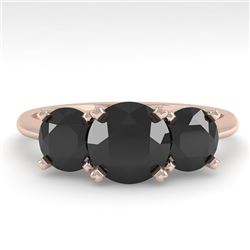 2 CTW Black Diamond Past Present Future Designer Ring 18K Rose Gold - REF-91H8M - 32465