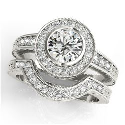 1.54 CTW Certified VS/SI Diamond 2Pc Wedding Set Solitaire Halo 14K White Gold - REF-407A3V - 31049