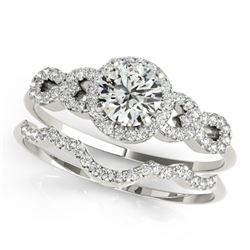 1.18 CTW Certified VS/SI Diamond Solitaire 2Pc Wedding Set 14K White Gold - REF-197R8K - 31991