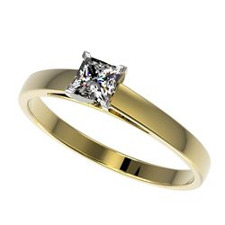 0.50 CTW Certified VS/SI Quality Princess Diamond Solitaire Ring 10K Yellow Gold - REF-64V3Y - 32967