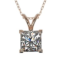 1 CTW Certified VS/SI Quality Princess Diamond Solitaire Necklace 10K Rose Gold - REF-265H3M - 33196