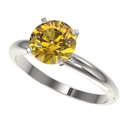 2 CTW Certified Intense Yellow SI Diamond Solitaire Engagement Ring 10K White Gold - REF-527H3M - 32