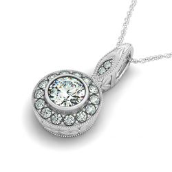 0.65 CTW Certified VS/SI Diamond Solitaire Halo Necklace 14K White Gold - REF-96F4N - 30250