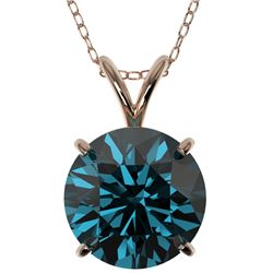 2.50 CTW Certified Intense Blue SI Diamond Solitaire Necklace 10K Rose Gold - REF-575A7V - 33247