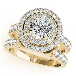3.42 CTW Certified VS/SI Diamond 2Pc Wedding Set Solitaire Halo 14K Yellow Gold - REF-793V8Y - 31225