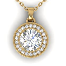 0.96 CTW Certified VS/SI Diamond Art Deco Micro Halo Necklace 14K Yellow Gold - REF-170N4A - 30359