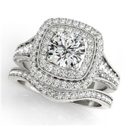 2.28 CTW Certified VS/SI Diamond 2Pc Wedding Set Solitaire Halo 14K White Gold - REF-449X6R - 30912