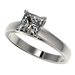 1.25 CTW Certified VS/SI Quality Princess Diamond Solitaire Ring 10K White Gold - REF-372W3H - 33013