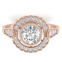 1.55 CTW Certified VS/SI Diamond Solitaire Art Deco Ring 14K Rose Gold - REF-367K3W - 30538