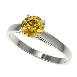 1 CTW Certified Intense Yellow SI Diamond Solitaire Engagement Ring 10K White Gold - REF-199R5K - 32