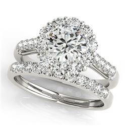 2.39 CTW Certified VS/SI Diamond 2Pc Wedding Set Solitaire Halo 14K White Gold - REF-436M9F - 30741