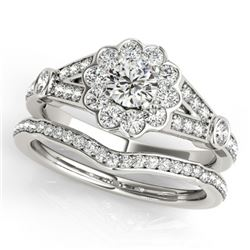 1.59 CTW Certified VS/SI Diamond 2Pc Wedding Set Solitaire Halo 14K White Gold - REF-237M6F - 31157