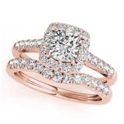 1.45 CTW Certified VS/SI Cushion Diamond 2Pc Set Solitaire Halo 14K Rose Gold - REF-250M2F - 31335